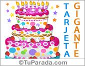 Tarjeta de cumpleaños con torta en rosa