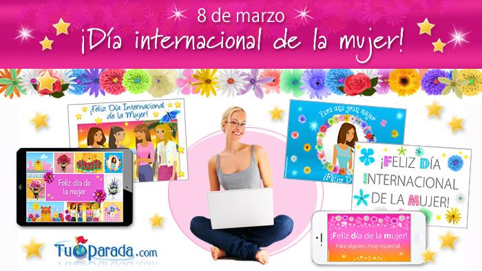 Día internacional de la mujer y tarjetas de saludos para ...