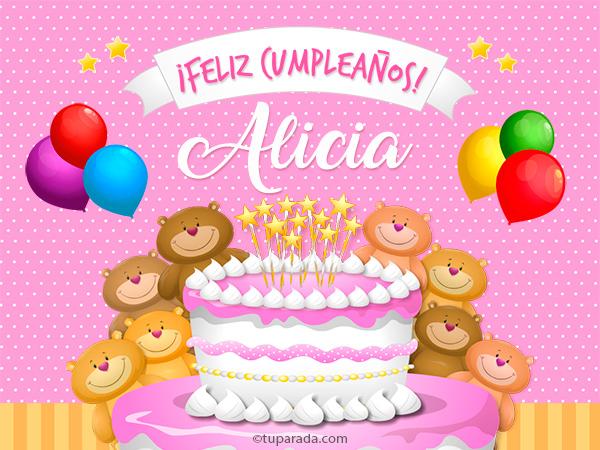 Tarjetas de cumpleaños con el nombre Alicia
