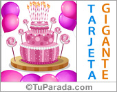 Tarjeta de cumpleaños con torta rosa