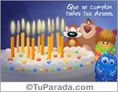 Tarjeta de cumpleaños con torta y velas