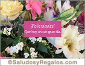 Tarjeta de felicidades con flores